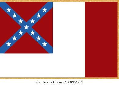 Historic Flag. US Civil War 1860's. Confederate States of America. Third national flag variation. Gold tassles/fringe.
