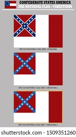 Historic Flag. US Civil War 1860's. 3rd Confederate States of America National Flag variations