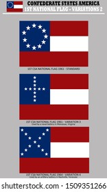 Historic Flag. US Civil War 1860's. 1st Confederate States of America National Flag variations