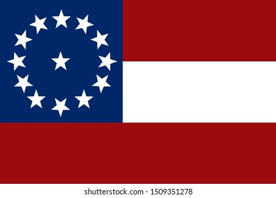 Historic Flag. US Civil War 1860's. Confederate States of America. First national flag variation.
