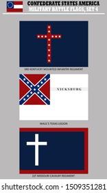 Historic Flag. US Civil War 1860's. Confederate Battle Flag set 4. Kentucky, Texas and MIssouri Regiments.
