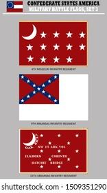 Historic Flag. US Civil War 1860's. Confederate Battle Flag set 3. Missouri and Arkansas Infantry Regiments.