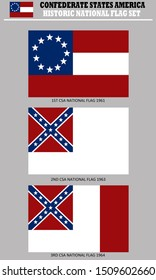 Historic Flag. US Civil War 1860's. Confederate States of America National Flag, 3 official variations
