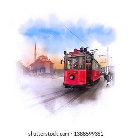 The historic red tram T4, the route Mesdzhidi Selim - Topkapi. Istanbul, Turkey. Watercolor sketch