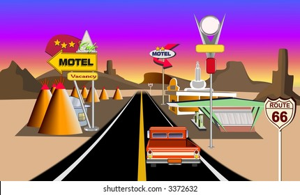 Historic  route 66 concept illustration showing service areas