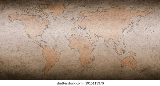 Historical Ancient World map on a old paper texture backdrop. Beautiful world map in a light color