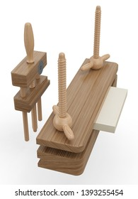 Historical bookbinding press and planer. 3D model