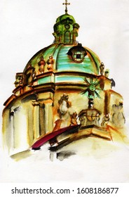 Historical Church Dome Painting with Mixed Media