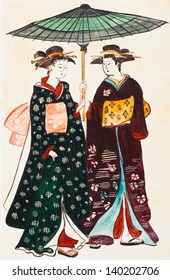 historical clothes - Japanese young women geishas in traditional clothes stylized under print of Torii Kiyonaga (Sekiguchi Shinsuke) 18th century