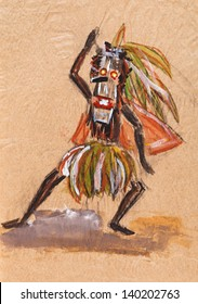 historical clothes - shaman in ritual mask dances ceremony