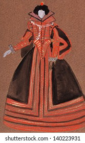 historical costume - Dress Spanish court lady late 16th century