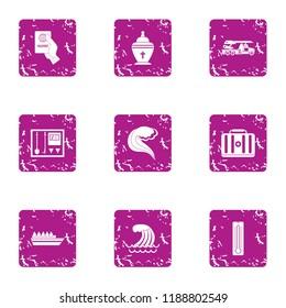 Historical homeland icons set. Grunge set of 9 historical homeland icons for web isolated on white background
