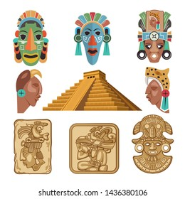 Historical symbols of mayan culture. Religion idols. Mask tribal, mythology mexican, souvenir traditional, illustration