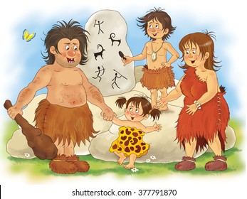 History of family, history of clothes. Fashion in different centuries. Family of cave people. Cute father, mother, daughter and son. Illustration for children. Coloring book. Coloring pages. Cartoon