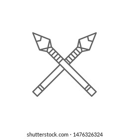 history, spear, hand axe outline icon