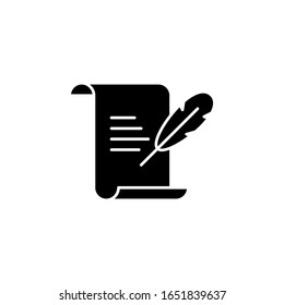 History, writing icon. Simple glyph, flat of history icons for ui and ux, website or mobile application on white background