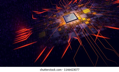 A hi-tech 3d illustration of a cubic CPU screen with diagonal and straight power rays resembling some futuristic transformer face in the black cyberspace with yellow and violet plates and spots.