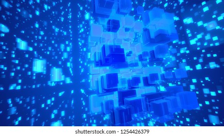 Hi-tech 3d illustration of glittering light blue cubes fixed together as a macrostructure in the blue background. The shining squares fly hign and create the mood of fest and celebration.