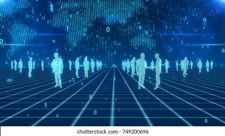 A hi-tech 3d illustration of numeric business people discussing deals on a light blue network from crossed lines. The digital light blue world map with whirling bits is in the background.