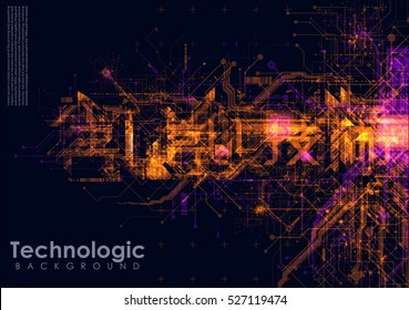 hi-tech background circuits graphity cyberpunk style walloper