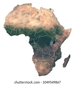 Hith resolution detailed satellite image of Africa. Physical map of Africa with country borders. Isolated african continent from space. Elements of this image furnished by NASA.