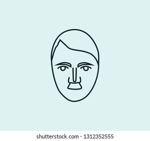 Hitler icon line isolated on clean background. Hitler icon concept drawing icon line in modern style.  illustration for your web mobile logo app UI design.