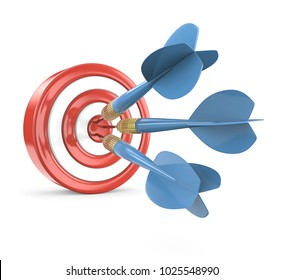 Hitting Target. Red Dart Board with 3 blue dart arrows. 3D render.