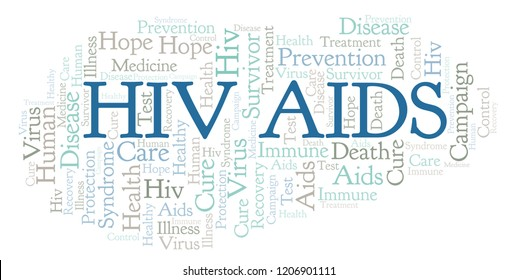 HIV AIDS word cloud, made with text only.