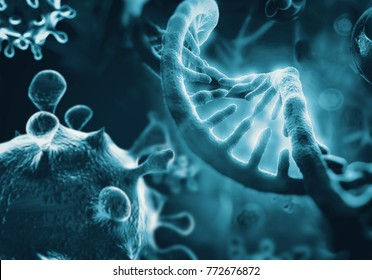 HIV virus infects human DNA, 3d rendering