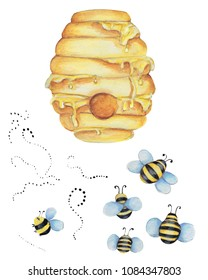 hive with honey and bee. Watercolor