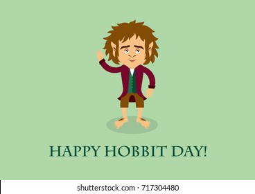 Hobbit day. Hobbit cartoon character. Important day
