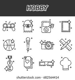 Hobby flat icons set .