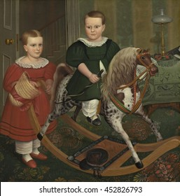 The Hobby Horse, by Robert Peckham, 1840, American painting, oil on canvas. The hide-covered hobby horse, has a real horsehair mane and tail. The names of the girl and boy are unknown. They are