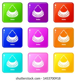 Hobo bag icons set 9 color collection isolated on white for any design