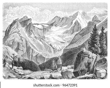Hochgall mountain in South Tirol (Italy) / vintage illustration from Meyers Konversations-Lexikon 1897
