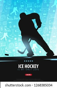 Hockey banner with players and doodle elements on the background