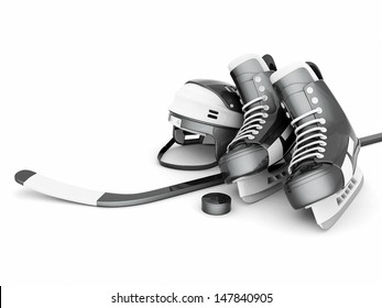 hockey equipment isolated on a white background