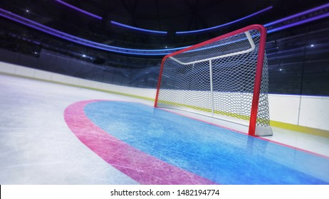 Hockey goal area dynamic closeup in modern sport arena, ice hockey stadium indoor 3D illustration background.