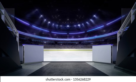 Hockey stadium ice rink entry corridor with blurry background, indoor 3D render illustration background.