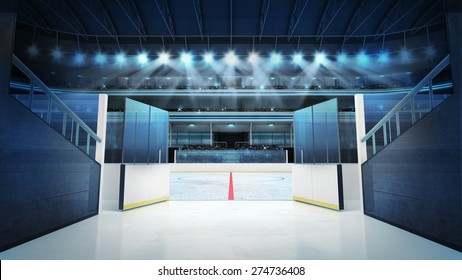 hockey stadium with open doors leading to ice sport arena rendering my own design