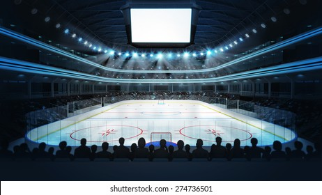 hockey stadium with spectators and blank cube text space sport arena in view rendering my own design