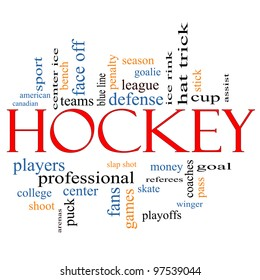 Hockey Word Cloud Concept with great terms such as assist, slap shot, goal, ice rink, blue line and more.