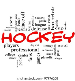 Hockey Word Cloud Concept in red scribbles with great terms such as slap shot, goal, ice rink, blue line and more.