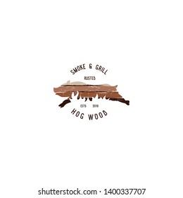 hog wood smoke and grill logo