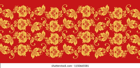 Hohloma branch lines seamless pattern . Russian traditional ornament in red and gold colors. Classic khokhloma floral background