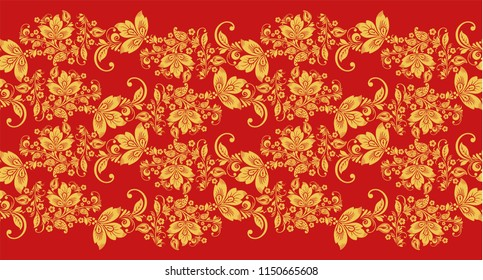 Hohloma branch waves seamless pattern fabric texture . Russian traditional decoration in red and gold colors. Classic khokhloma background