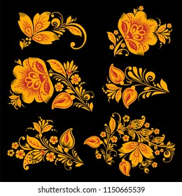 Hohloma decor elements collection. Classic Khokhloma painting, floral set in black, red and gold colors