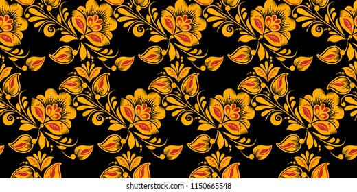 Hohloma painting in classic black, red and gold colors. Flower seamless pattern , khokhloma, Russian national ornament