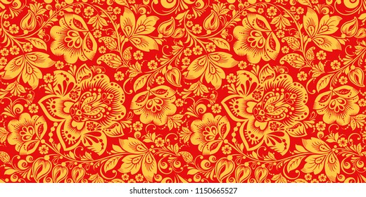 Hohloma in red and gold colors seamless pattern . Russian traditional decoration design
