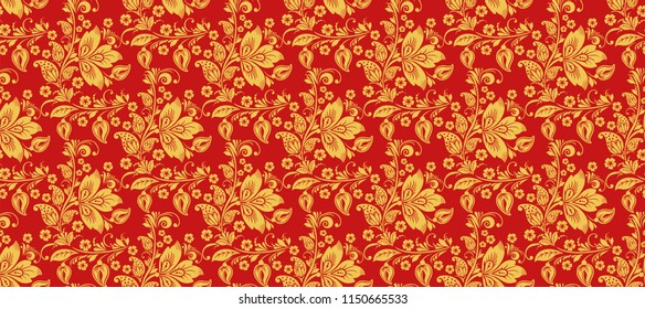 Hohloma seamless pattern background . Russian traditional decoration in red and gold colors
